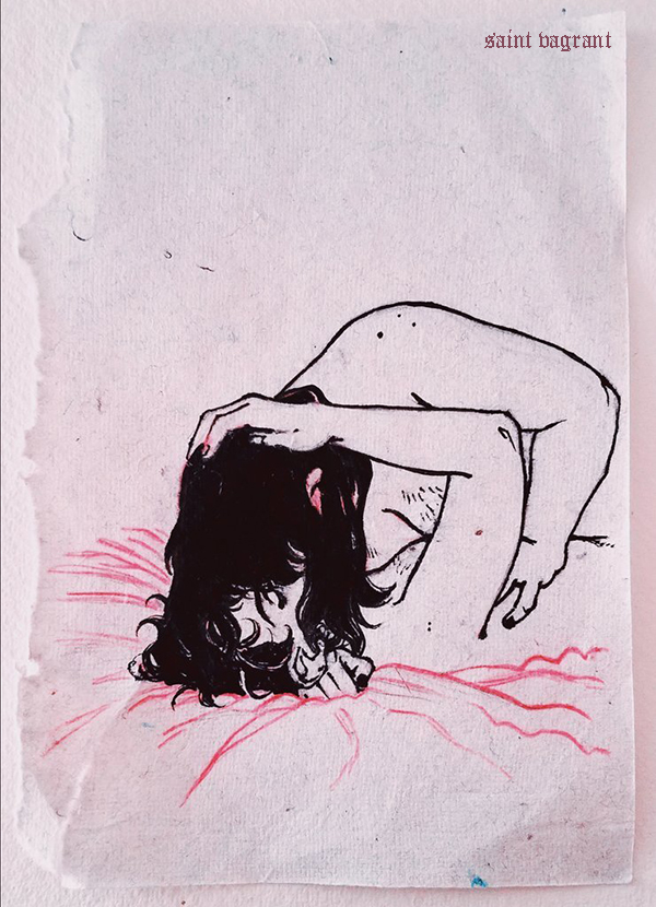 A drawing of two figures sensually embracing. The figure on the bottom is being pressed into the bed, lying on their back. The figure on the top has their hand on the other's chest, long black hair draping over both of their faces.