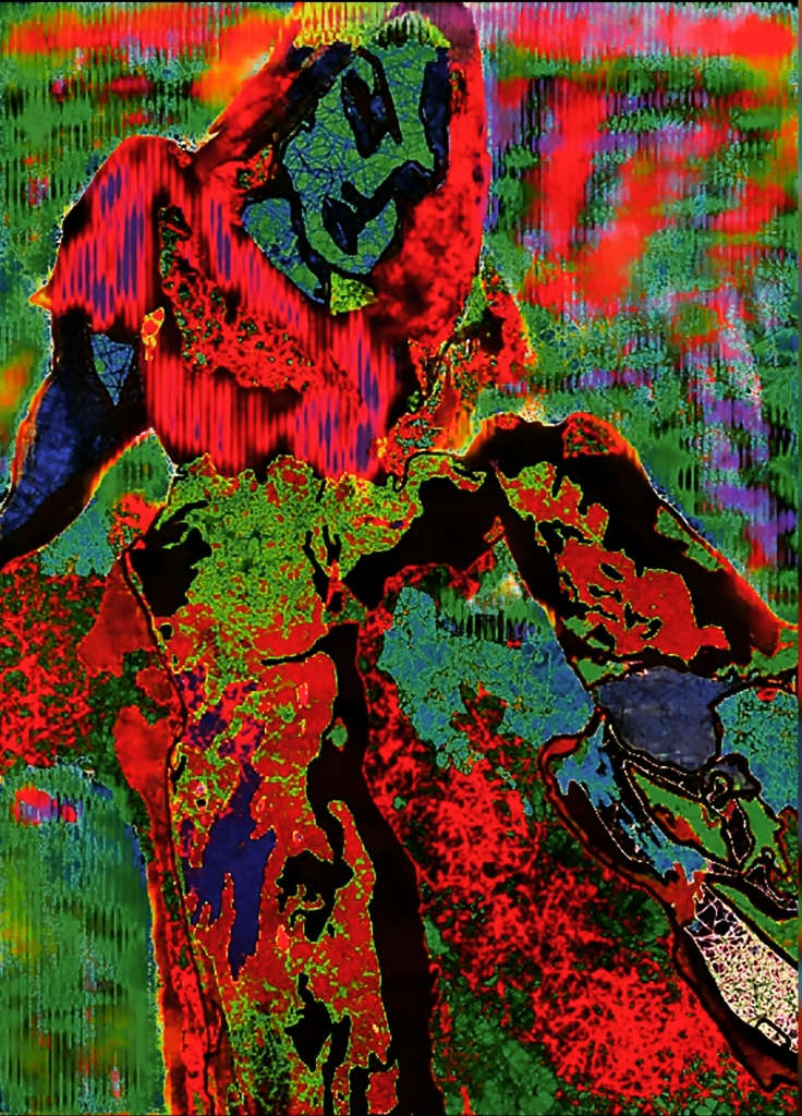 A distorted green person sits splayed in a void of green, red, and purple blotches. They wear a red crop top and black jeans, vaguely frowning at their sneakers.